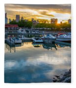 Sunset In Detroit Fleece Blanket