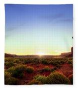 Sunset In Monument Valley Fleece Blanket