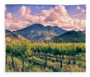 Sunset In Napa Valley Fleece Blanket