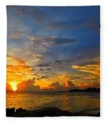 Sunset In Paradise - Beach Photography By Sharon Cummings Fleece Blanket