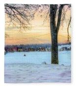 Sunset In The Snow Fleece Blanket