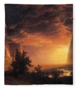 Sunset In The Yosemite Valley Fleece Blanket