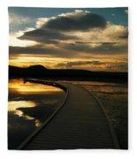 Sunset In Yellow Stone Fleece Blanket