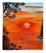 Sunset Lighthouse Fleece Blanket