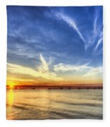 Sunset Mackinac Bridge Fleece Blanket