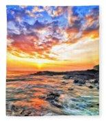 Sunset Near Old Kona Airport Fleece Blanket