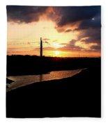 Sunset Of The Trinity River Fleece Blanket