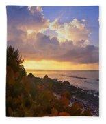 Sunset On Little Cayman Fleece Blanket