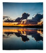 Sunset On Little Pine Lake Fleece Blanket