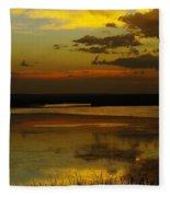 Sunset On Medicine Lake Fleece Blanket
