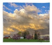 Sunset On Mixed Clouds Fleece Blanket