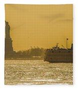 Sunset On Ny Harbor Fleece Blanket