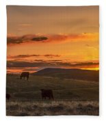 Sunset On Open Range Fleece Blanket