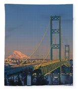 1a4y20-v-sunset On Rainier With The Tacoma Narrows Bridge Fleece Blanket