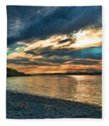 Sunset On Rocky Beach Fleece Blanket