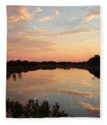 Sunset On Sandpiper Pond Fleece Blanket