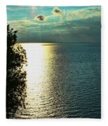 Sunset On The Bay Of Green Bay Wi Fleece Blanket