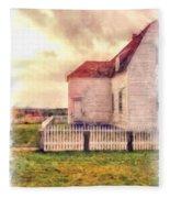 Sunset On The Old Farm House Fleece Blanket
