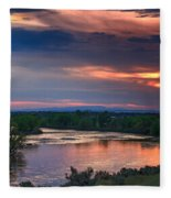Sunset On The Payette  River Fleece Blanket