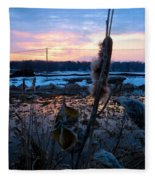 Sunset On The Pond Fleece Blanket