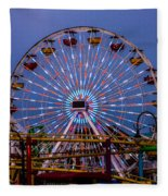 Sunset On The Santa Monica Ferris Wheel Fleece Blanket