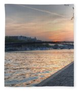 Sunset On The Seine Fleece Blanket