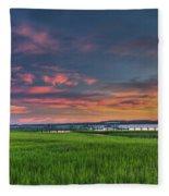 Sunset On The Wando Fleece Blanket