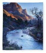 Sunset On The Watchman Fleece Blanket