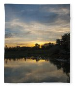 Sunset On The Water  Fleece Blanket