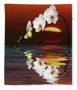 Sunset Orchids Fleece Blanket