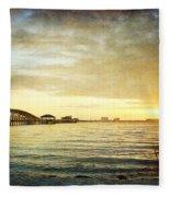 Sunset Over Biloxi Bay Fleece Blanket
