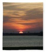 Sunset Over Charleston Harbor Fleece Blanket