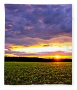 Sunset Over Farmland Fleece Blanket