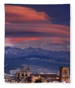 Sunset Over Granada And The Cathedral Fleece Blanket