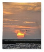 Sunset Over Lake Como Fleece Blanket