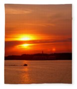 Sunset Over Lake Ozark Fleece Blanket