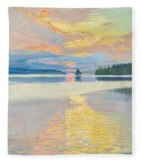 Sunset Over Lake Ruovesi Fleece Blanket
