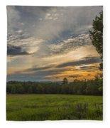 Sunset Over Lupine Fields Fleece Blanket