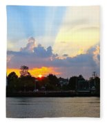 Sunset Over Mauricetown  Fleece Blanket