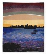 Sunset Over Miami Fleece Blanket