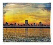 Sunset Over Milwaukee Fleece Blanket