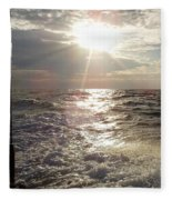 Sunset Over Nj After Fishing Fleece Blanket