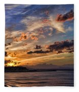 Sunset Over Rethymno Crete Fleece Blanket