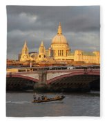 Sunset Over St Pauls Cathedral London Fleece Blanket