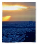 Sunset Over The Eiffel Tower Fleece Blanket