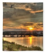 Sunset Over The Great Falls Fleece Blanket