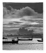 Sunset Over The Gulf Of Thailand Black And White Fleece Blanket