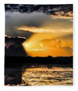 Sunset Over The Mead Wildlife Area Fleece Blanket