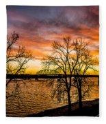 Sunset Over The Mississippi River Fleece Blanket