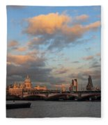 Sunset Over The River Thames London Fleece Blanket